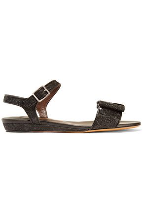 BRUNO MAGLI Leather-trimmed glittered lace sandals