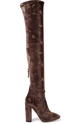 AQUAZZURA Fauna embellished velvet over-the-knee boots