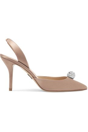 PAUL ANDREW Jewel embellished satin slingback pumps
