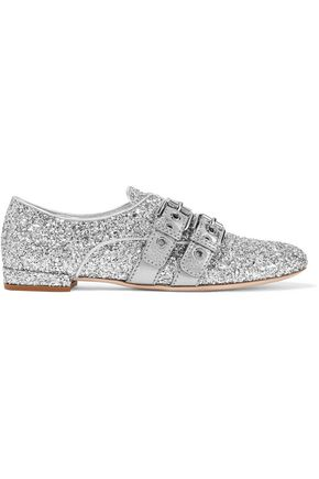 MIU MIU Glittered leather brogues