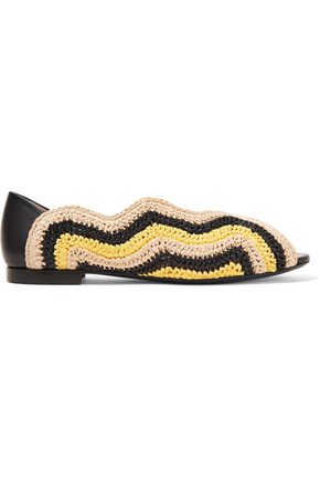 FENDI Raffia and leather ballet flat