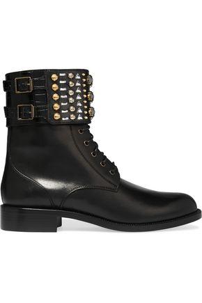 RENE' CAOVILLA Swarovski crystal-embellished leather boots