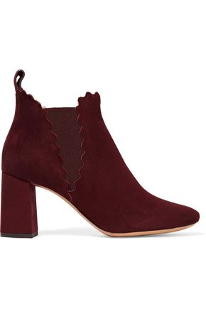 CHLOÉ Scalloped suede ankle boots
