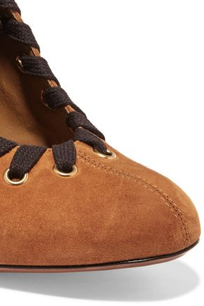 CHLOÉ Lace-up suede ankle boots