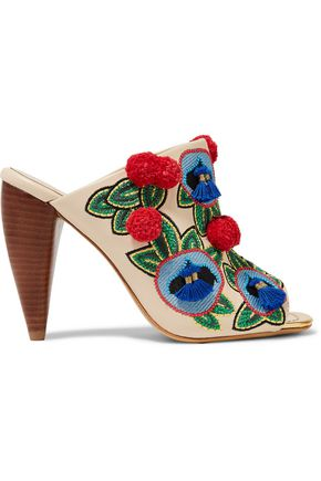 TORY BURCH Embellished leather mules