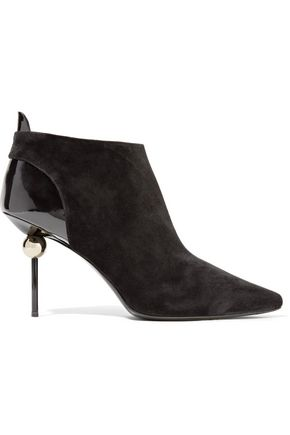 ROGER VIVIER Embellished patent leather-paneled suede ankle boots