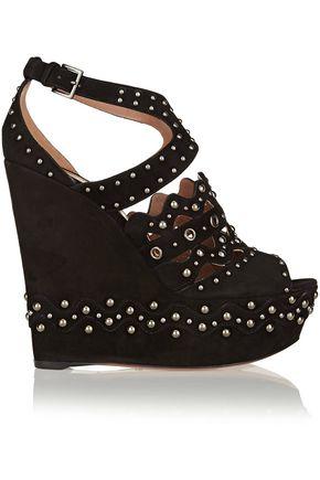 ALAÏA Studded suede wedge sandals