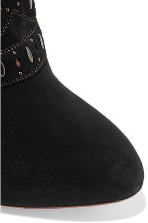 ALAÏA Studded cutout suede boots