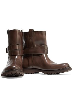 BRUNELLO CUCINELLI Glossed-leather ankle boots
