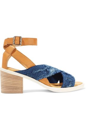 WOMAN LEATHER AND FRAYED DENIM SANDALS MID DENIM