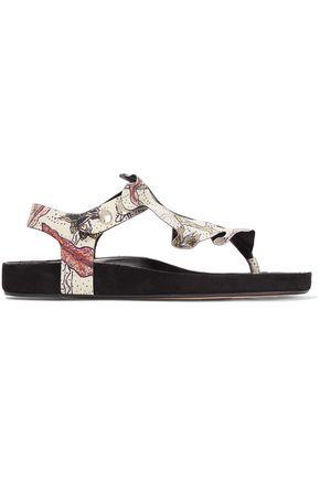 Leakey ruffled printed leather sandals