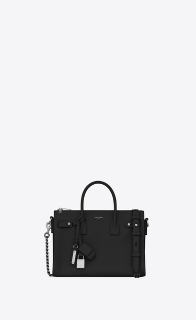 SAINT LAURENT Sac De Jour Supple D Baby SAC DE JOUR SOUPLE duffle bag in black grained leather a_V4