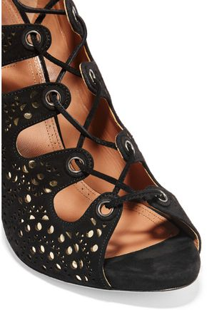 ALAÏA Laser-cut suede and metallic leather sandals