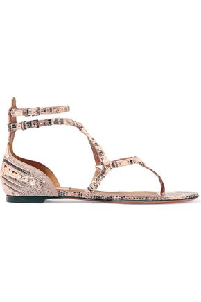VALENTINO Love Latch eyelet-embellished lizard sandals