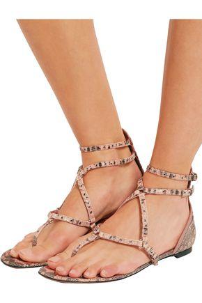 VALENTINO Love Latch eyelet-embellished lizard sandals
