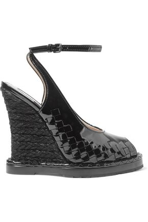 BOTTEGA VENETA Intrecciato patent-leather espadrille wedge sandals