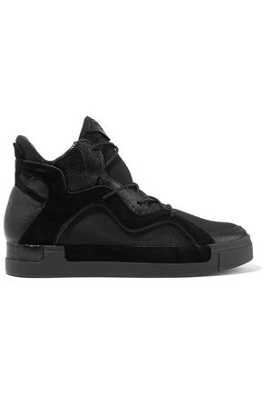 Y-3 + adidas Originals Riyal III paneled neoprene, canvas, textured and smooth  leather sneakers