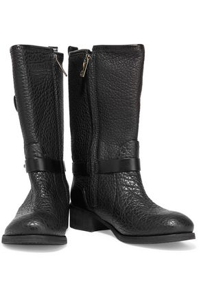 Tory Burch Woman Leona Textured-leather Boots Black Size 6 Tory Burch For Cheap Online High-Quality Cheap suo0aWuJ