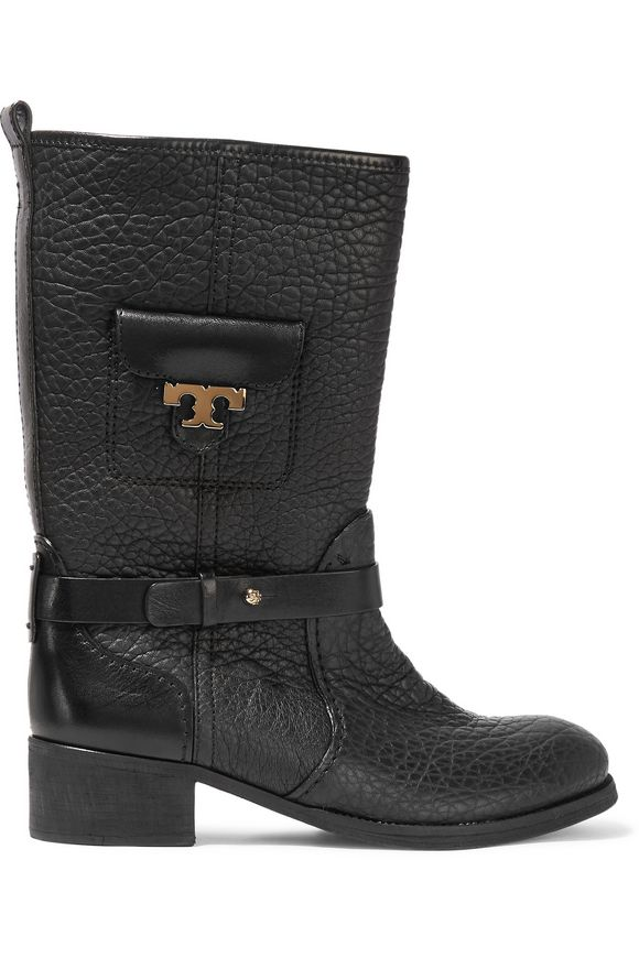 Tory Burch Woman Leona Textured-leather Boots Black Size 6 Tory Burch Buy Cheap Best Sale Cheap Marketable Really Clearance 2018 The Cheapest Liyty
