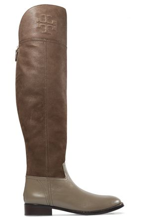 TORY BURCH Simone two-tone leather over-the-knee boots