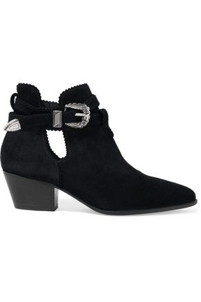 SANDRO Buckle-detailed cutout suede boots