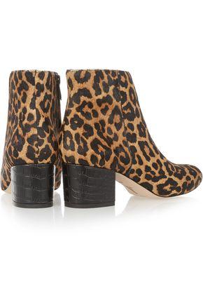 SAM EDELMAN Edith leopard-print calf hair ankle boots