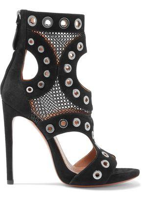ALAÏA Eyelet-embellished mesh-paneled suede ankle boots