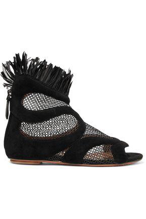 ALAÏA Raffia-trimmed mesh-paneled suede sandals