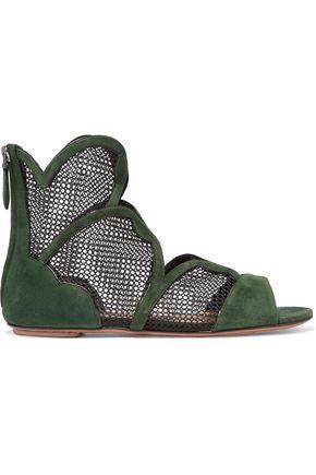 ALAÏA Mesh-paneled suede sandals