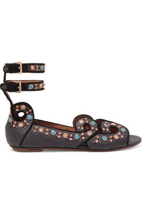 ALAÏA Embellished woven leather sandals