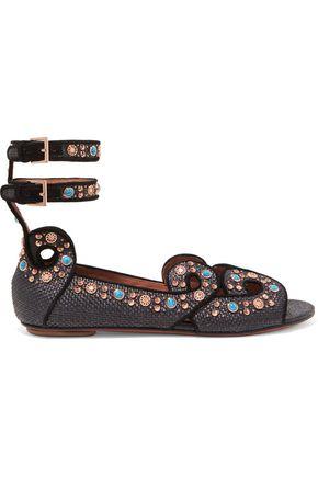 ALAÏA Embellished woven leather sandals