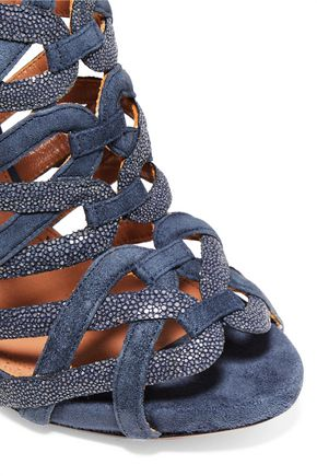 ALAÏA Embellished cutout suede sandals