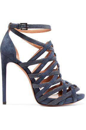 ALAÏA Embellished cutout suede sandals