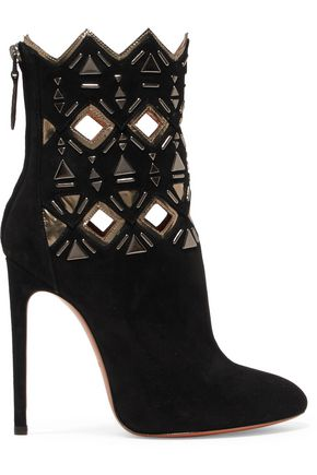 ALAÏA Embellished cutout suede ankle boots