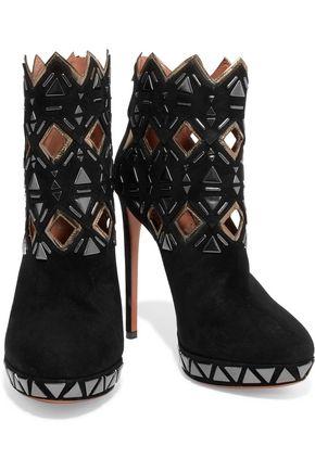 ALAÏA Embellished cutout suede boots