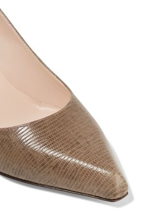 SERGIO ROSSI Snake-effect leather pumps
