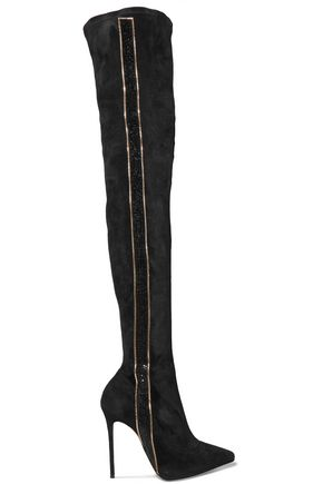 RENE' CAOVILLA Embellished suede thigh-high boots
