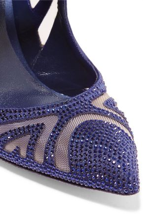 RENE' CAOVILLA Crystal-embellished satin and mesh point-toe pumps