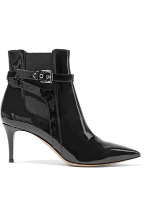 GIANVITO ROSSI Buckled patent-leather ankle boots