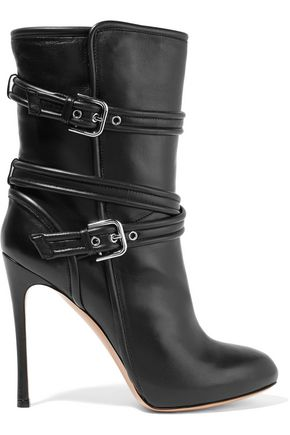 Buckled leather boots