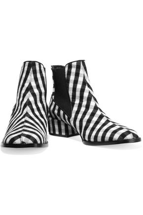 TIBI Ava leather-trimmed gingham wool ankle boots
