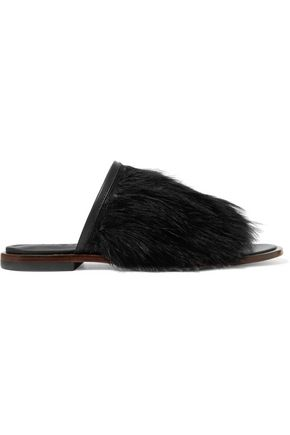TIBI Jack feather-embellished leather slides
