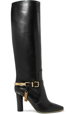 BALMAIN Chain-trimmed leather knee boots