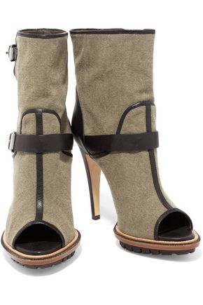 BELSTAFF Croft leather-trimmed canvas ankle boots