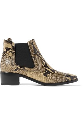BELSTAFF Dartmoor python-effect leather ankle boots
