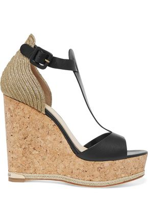 PALOMA BARCELÓ Marielle leather, metallic raffia and cork wedge sandals