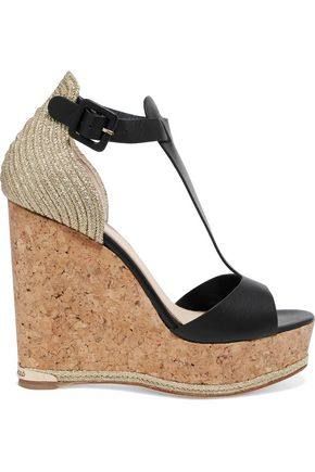 PALOMA BARCELÓ Marielle metalli-trimmed leather cork wedge sandals