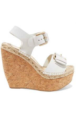 WOMAN NICOLE BUCKLED LEATHER AND CORK WEDGE SANDALS WHITE