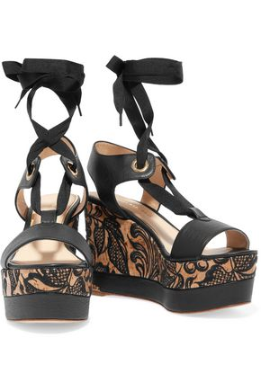 PALOMA BARCELÓ Oriane textured-leather embroidered wedge sandals