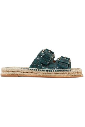 PALOMA BARCELÓ Rachele embellished croc-effect leather espadrille sandals